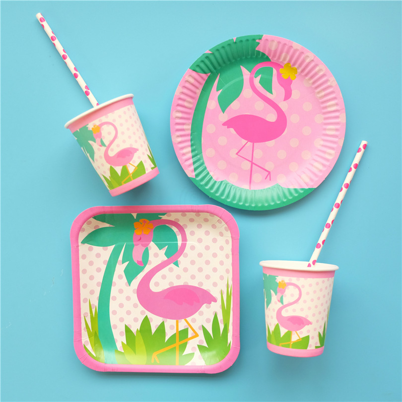 Ynaayu 8pcs/set Flamingo Plates Party Cup Disposable Tableware Baby Shower Kids Birthday Party Supplies Wedding Pool Party Decor