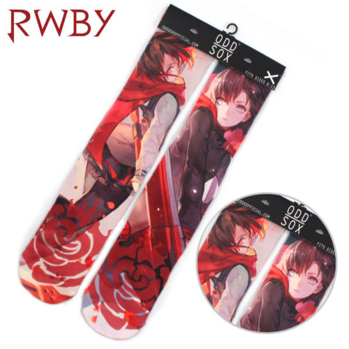 """4x16"""" Anime RWBY Ruby Rose Symbol Red Short Cotton Socks Colorful Stockings Tights Cosplay Costume Unisex Fashion Gifts Cool"""
