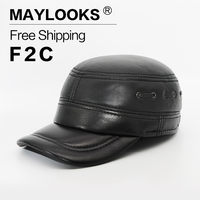 2018 Direct Selling Adult Maylooks New Fashion Men's Scrub Genuine Leather Baseball Winter Warm Hat / Cap For Casual Hats Cs53