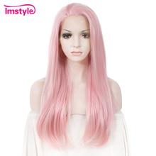 Лучший!  Imstyle Розовый Парик Прямые Синтетические Волосы Парик Фронта Шнурка Для Женщин Высокотемпературног