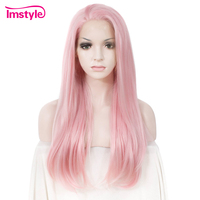 Imstyle Pink Wig Straight Synthetic Hair Lace Front Wig For Women High Temperature Fiber Glueless Cosplay Wig