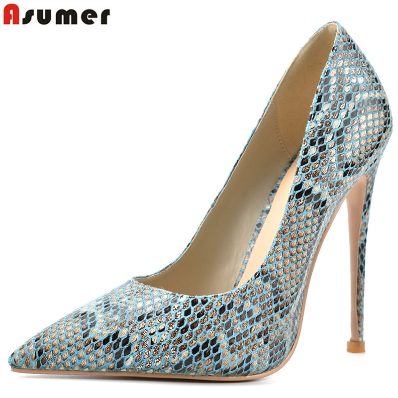 ASUMER big size fashion pumps women shoes pointed teo shallow high heels ladies shoes woman super high thin heels wedding shoes blue extrem high heel shoes 2018 snake printing women shoes fashion shallow mouth pumps woman wedding shoes big size