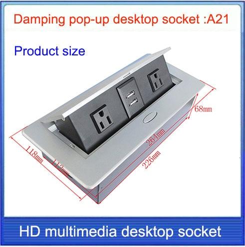 American Standard Tabletop socket /hidden/ Damping spring open /Office conference room USB charging desktop socket /A21