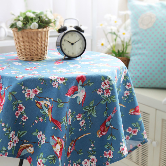 Dark Blue Birds Nostalgic Vintage Table Cloth Gremial Fashion Tablecloth  Dining Table Cloth Customize Rustic Fluid