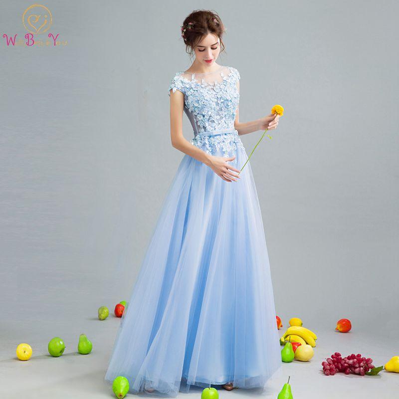Walk Beside You Blue Prom Dresses Backless Lace Applique Sequined A-line Long  Vestidos Longos De Formatura Evening Formal Gowns