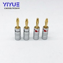 4pcs Banana Connector 4mm Copper Gold-plated Banana Connector with Screw Locks For Audio Jack Speaker Plugs Black&Red цена 2017