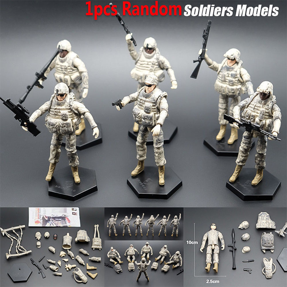 1pcs 1:18 US 101st Airborne Division Soldiers Action Figure Models With Weapon Soldiers Army Men Assembled Toy