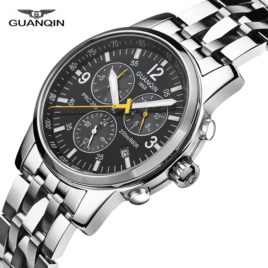 GUANQIN Mens Watches Top Brand Luxury Automatic Mechanical Whatch Clock Male Sport Full Steel Waterproof Relogio Masculino A guanqin 200m waterproof mens watches 2017 top brand luxury watch men automatic male clock sport full steel relogio masculino a