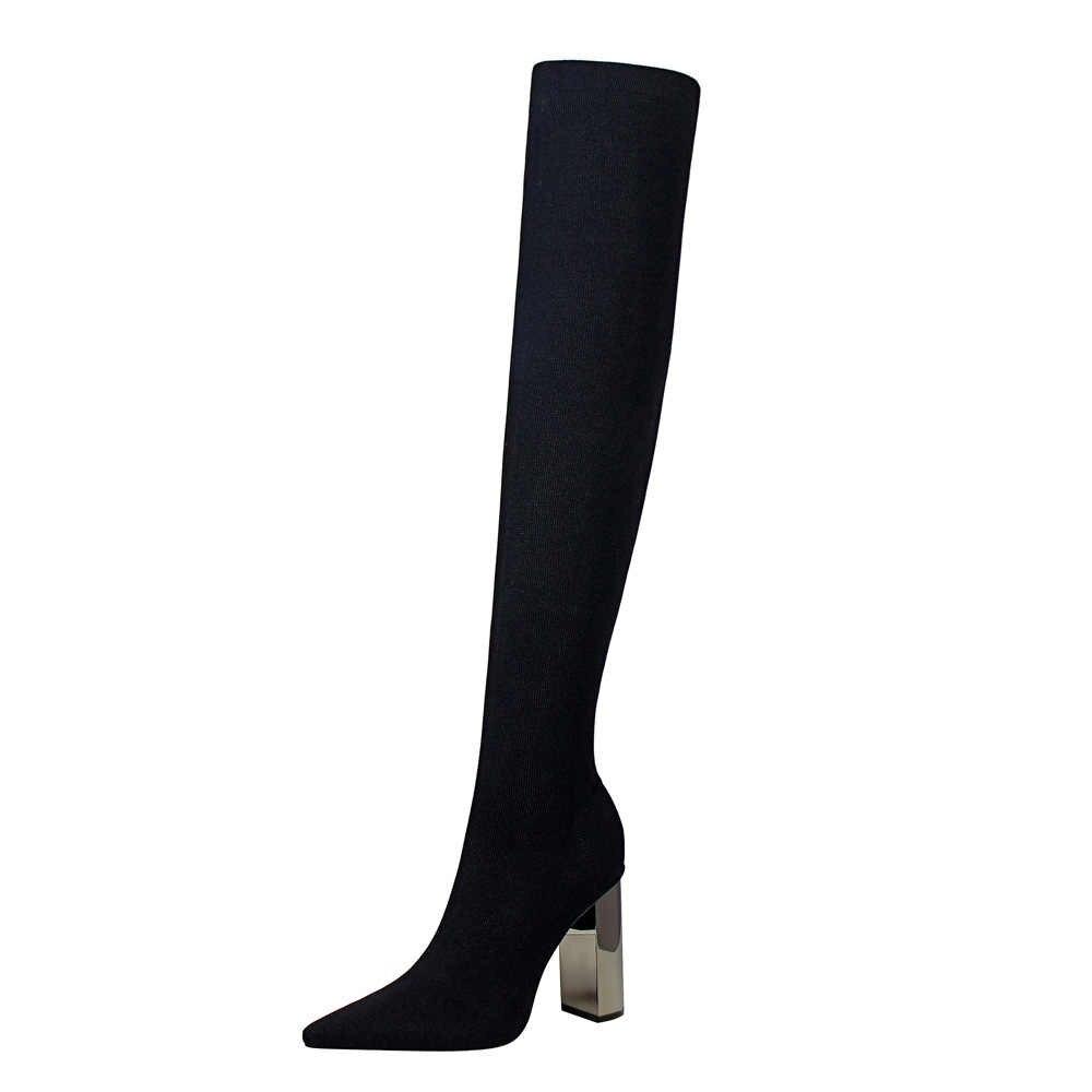 2019 รองเท้าสุภาพสตรีสแควร์รองเท้าส้นสูงผู้หญิงเข่าบูทสีดำ Pointed Toe ผู้หญิงรถจักรยานยนต์รองเท้าขนาด 34 -40