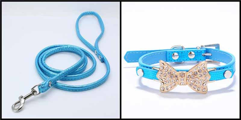 SYDZSW PU Leather Dog Collars & Leads Puppy Pet Leash Luxury Pet Products Diamond Bow Tie Chihuahua Collar Necklace for Cats Dogs22