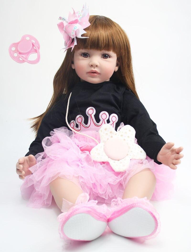 60 см силикона Reborn Baby Doll игрушки 24 дюймов винил принцесса для малышей куклы для девочек подарок на день рождения подарок ребенку играть дом и...