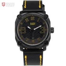 SHARK ARMY Top Brand Steel Yellow Black Electroplate Case Leather Sporting relogio masculino Quartz Men Boy Wrist Watch /SAW226