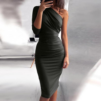 Bigsweety New Sexy One Shoulder Bodycon Party Dresses Elegant Women Casual Midi Sheath Slim Bodycon Dress Package Hip Midi Dress фото