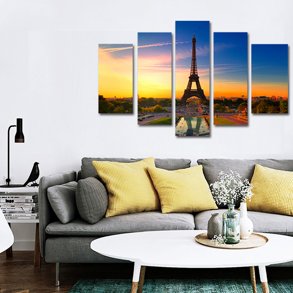 Unframed 5 panel HD Canvas Wall Art Giclee Painting Prospect EiffelTower Landscape For Living Room Home Decor Free Shipping