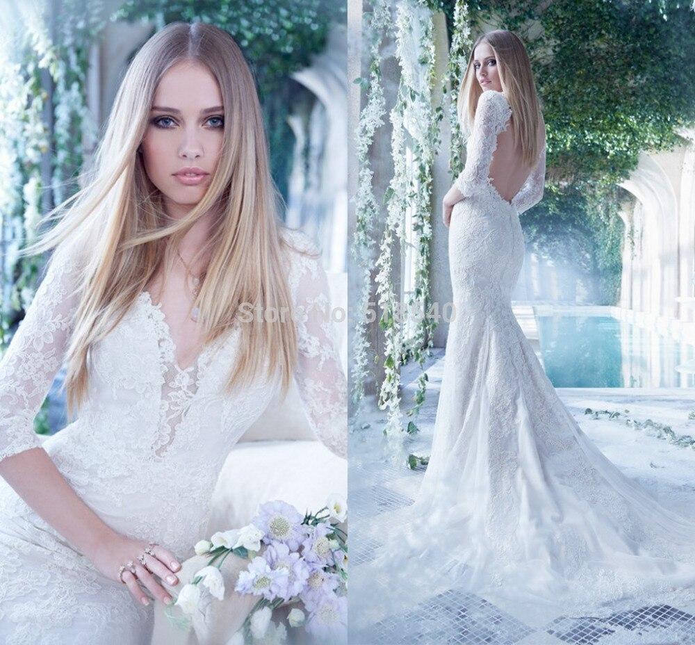 G3 2015 de novia de encaje blanco Vestidos Sexy espalda abierta ...