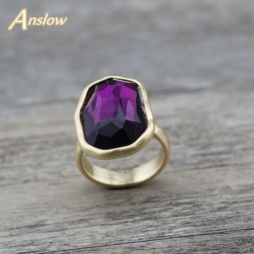 Anslow Trendy Brand Fashion Jewelry Silver Gold Color Big Irregular Crystal Finger Ring For Women Wedding Engagement LOW0006AR title=