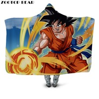 Warrior Hooded Blanket Soft Adult Fashion DIY Dragon Ball Anime Kids 3D Print Office Picnic Quilts Wearable Bedding Drop Ship