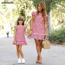 Family Matching Clothes 2019 Striped Mother Daughter Dresses Short Sleeve Girl B