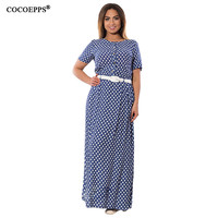 2017 Summer Women Elegant 5XL 6XL Dot Maxi Dress Sashes Plus Size Vintage Beach Evening Dress