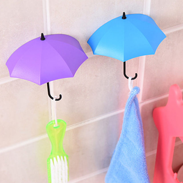 Colorful Umbrella Shaped Bathroom Wall Hooks Set