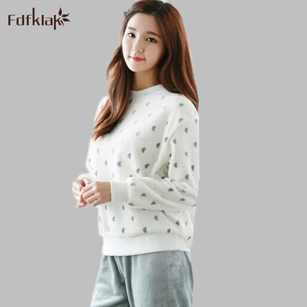 2018 Warm Long-sleeve Autumn And Winter Coral Fleece Sleepwear Winter Lovely Home Wear Flannel Lounge Sleep   Set     Pajamas     Set   A266