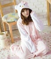 ในช่วงฤดูหนาวที่อบอุ่นนุ่มขนแกะชุดนอนชุดนอนผู้หญิงสีขาวแขนคิตตี้แมวOnesies
