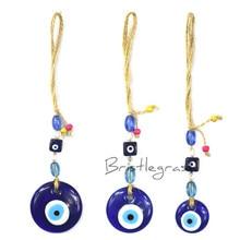 BRISTLEGRASS Turkish Blue Evil Eye Glass Car Wall Hanging Pendant Pendulum Amulet Lucky Charm Blessing Protection Art Gift Decor