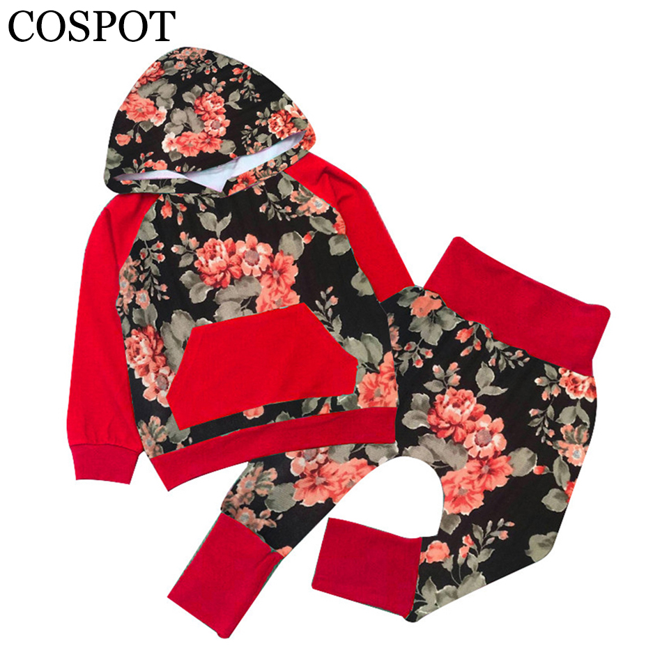COSPOT Baby Girls Hoodies Clothing Sets Girl Spring Cotton Coat+Pants Girl's Fashion Sweatshirt Girl Floral Outfit 2017 New 20F 2016 spring baby girl hoodies jackets sets cotton cartoon pig baby hoodies girls coverall vestido infantil hoodiest pants 3pcs