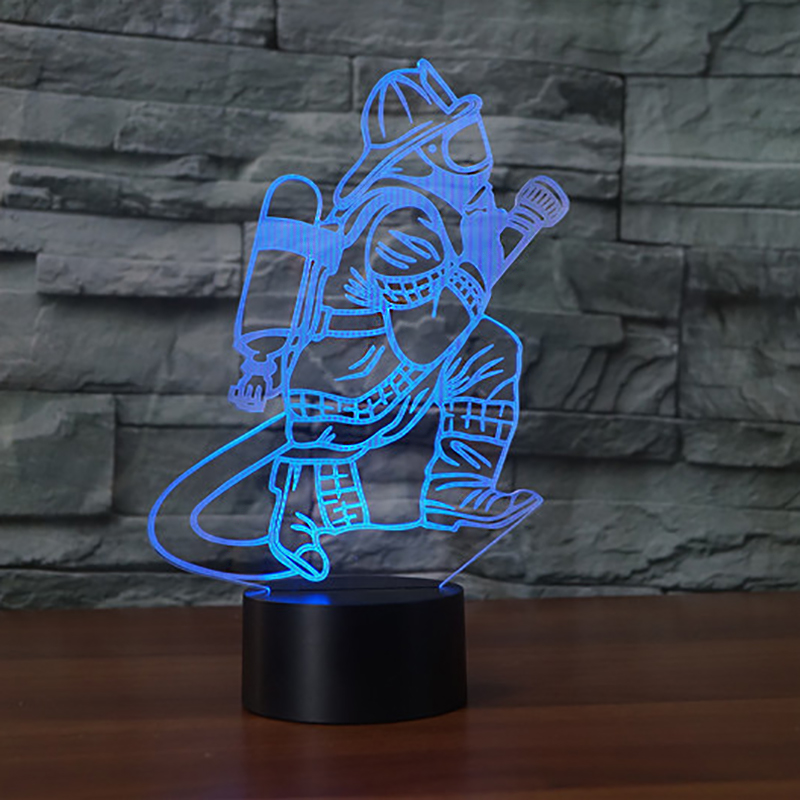 Novelty 7 Color Changing 3D Firemans Table Lamp LED USB Touch Button Fire Fighter Night Light Bedside Decor Light Fixture Gifts 3d visual shark 7 color changing touch led table night light