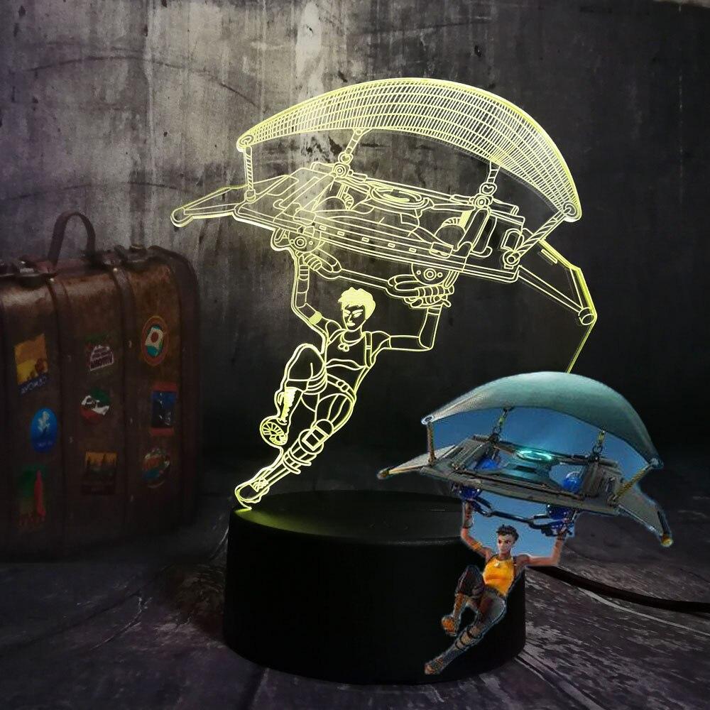 Cool NEW Battle Royale Game TPS PUBG Parachute Table Lamp 3D LED 7 Colors Night Light Child Kids Decor Light Christmas Boy Gift
