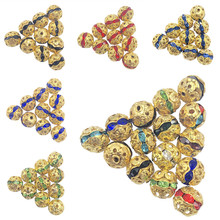 цены Bracelet necklace Making Beads 20pcs/lot jewelry making Fashion Hollow Out Beads round rhinestones ball 11 colors Jewelry DIY