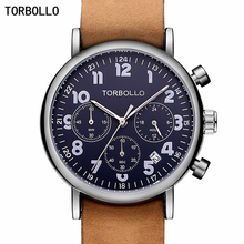 TORBOLLO יוקרה מותג צבאי שעונים גברים קוורץ הכרונוגרף 6 ידיים עור שעון איש ספורט צבא שעוני יד Relogio Masculino