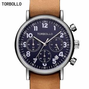 Image 1 - นาฬิกาข้อมือTORBOLLOแบรนด์หรูนาฬิกาทหารผู้ชายนาฬิกาควอตซ์Chronograph 6 มือนาฬิกาหนังผู้ชายนาฬิกาข้อมือกีฬาRelogio Masculino