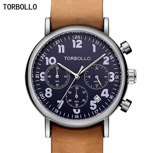นาฬิกาข้อมือTORBOLLOแบรนด์หรูนาฬิกาทหารผู้ชายนาฬิกาควอตซ์Chronograph 6 มือนาฬิกาหนังผู้ชายนาฬิกาข้อมือกีฬาRelogio Masculino