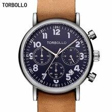 ساعات بنمط عسكري من العلامة التجارية الفاخرة من TORBOLLO كرونوغراف للرجال كوارتز ساعة من الجلد 6 أيدي للرجال ساعة يد رياضية للجيش ساعة رجالية