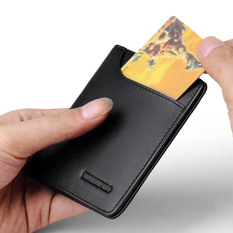 WILLIAMPOLO Herren Brieftasche Dünne Visitenkarte Kreditkarte Karte Halter Geldbeutel Echten Rindsleder Männer Mode Lässig Mini Karte Tasche Bifolds
