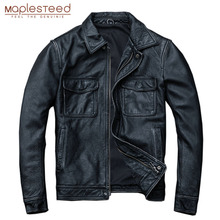 MAPLESTEED ヴィンテージ黒本物の革のジャケット男性 100% 天然カーフスキン赤茶色のレザージャケット男性の革のコートの秋 m174