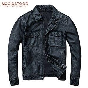 Image 1 - MAPLESTEED ヴィンテージ黒本物の革のジャケット男性 100% 天然カーフスキン赤茶色のレザージャケット男性の革のコートの秋 m174