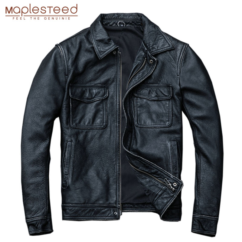 MAPLESTEED Vintage Black Real Leather Jacket Men 100% Natural Calf Skin Red Brown Leather Jackets Men's Leather Coat Autumn M174
