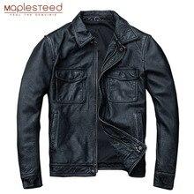 MAPLESTEED Vintage Black Real Leather Jacket Men 100% Natural Calf Skin Red Brow
