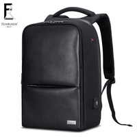 FRN Backpack leather Men 15 inch Laptop Backpack Anti theft Backpack with USB Casual Travel Backpack Mochila Male Waterproof