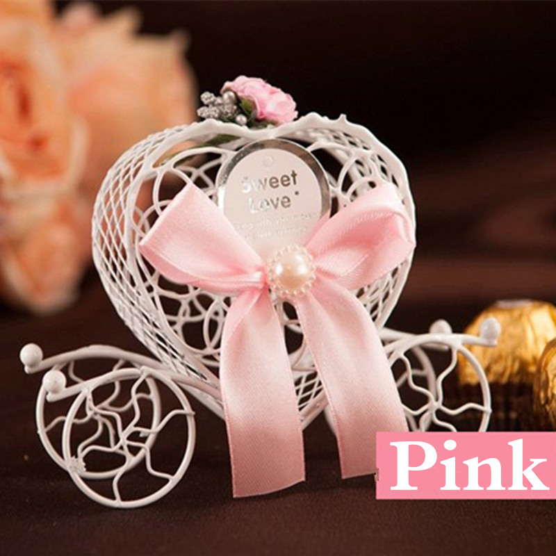 wholesale 200 pcslot iron heart shape carriage wedding favor boxes express free shipping