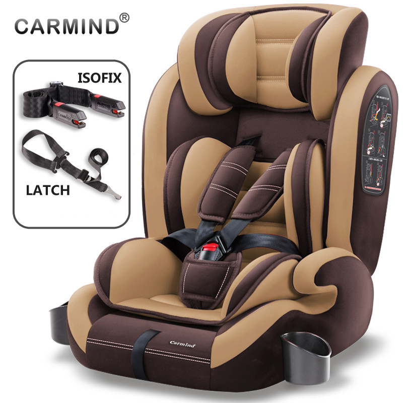 Asiento de seguridad de coche para niños Carmind de 9 meses-12 años de edad con conector suave ISOFIX y pestillo hacia delante- asientos de coche universales