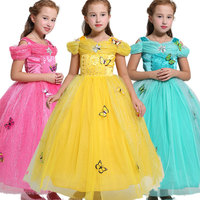 2017 Spring Girl Dress Sleeping Beauty Aurora Princess Full Sleeve Party Dresses Kids Clothes Girls Cosplay