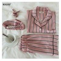 RUGOD Summer 2017 New Fashion Women Pajamas Turn Down Collar Sleepwear 2 Two Piece Set Shirt