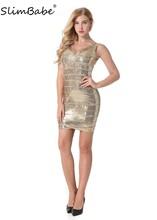 ФОТО slimbabe 2018 women sequined bodycon dresses club vestidos dress v-neck party bandage dress rayon gold prom sexy bodycon