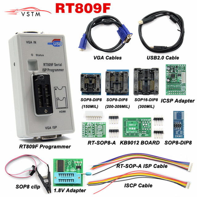 RT809F ISP Programmer/ RT809 lcd usb programmer Repair Tools 24-25-93 serise IC with 11 adapters