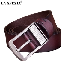 LA SPEZIA Men Belt Genuine Leather Coffee Pin Buckle Male Classic Letter Brand Solid Casual Real Cow 130cm