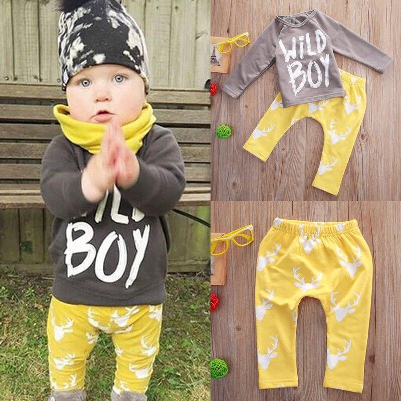 60fb7d132222 Infant Toddler Baby Boys T shirt Tops+Long Pants Trousers Wild Boy ...