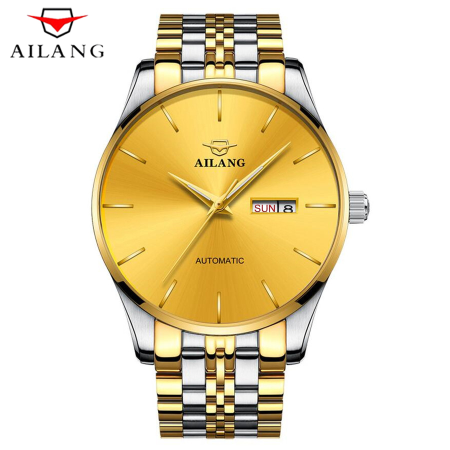 AILANG Mens High Quality Automatic Mechanical Watches Men Top Brand Luxury Dive 30M Business Full Steel Gold Watch Man NEW 2018